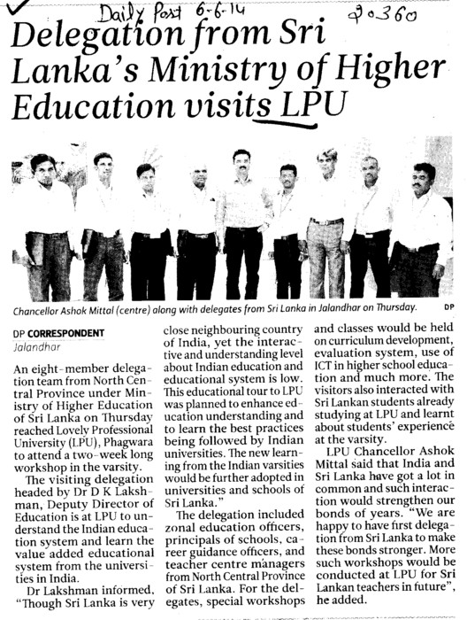 Delegation from Sri Lanka's ministry of higher education visits LPU (Lovely Professional University LPU)