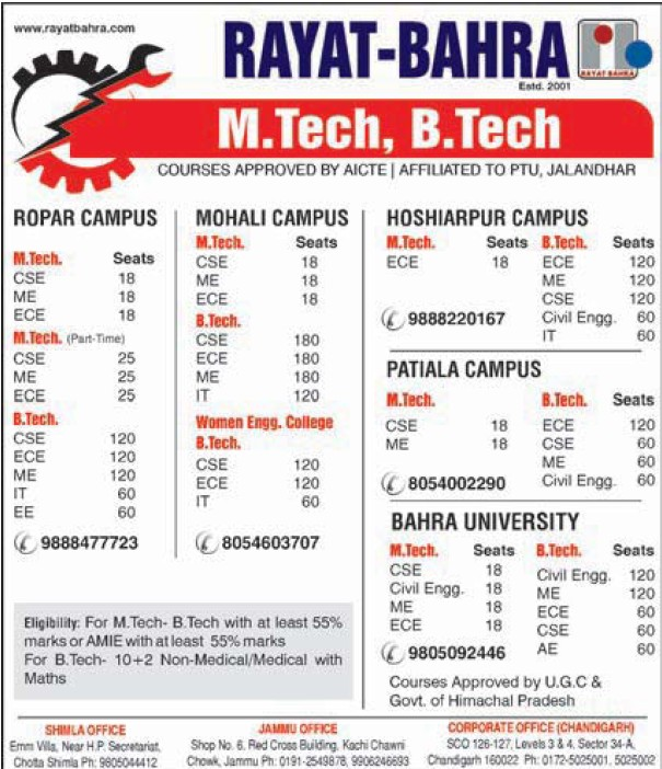 B Tech and M Tech programme (Rayat and Bahra Group)