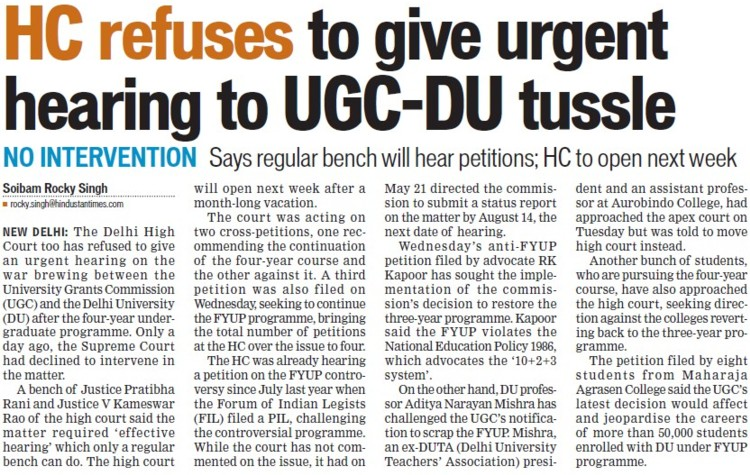HC refuses to give urgent hearing to UGC DU tussle (Delhi University)