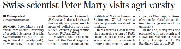 Swiss scientist Peter Marty visits agri varsity (Punjab Agricultural University PAU)