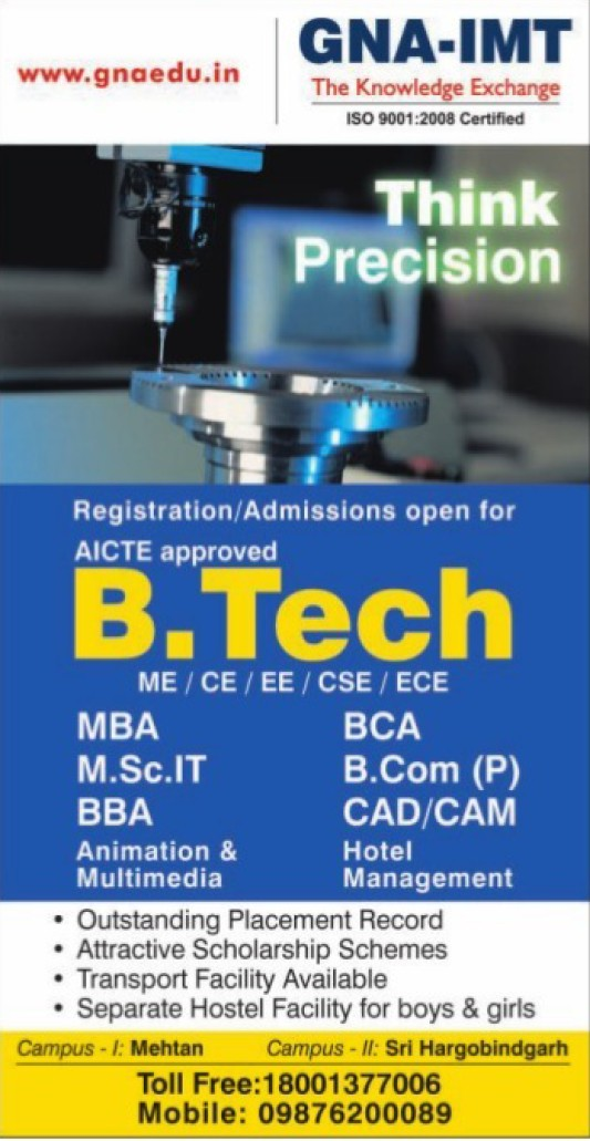 B Tech in CSE and ECE (GNA Institute of Management and Technology)