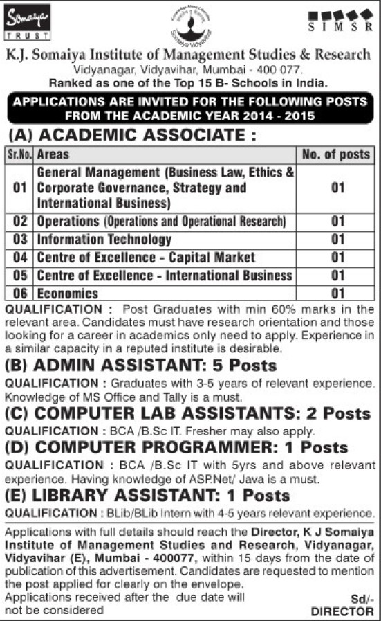 Academic Associate for IT (Somaiya Institute of Management Studies and Research (SIMSR))