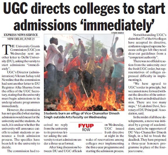 UGC directs colleges to start admissions immediately (Delhi University)