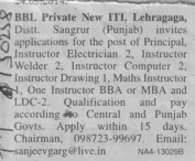 Principal and Instructor (BBL Private New ITI)