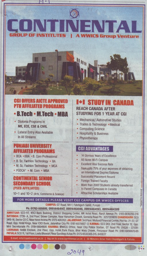 B Tech, M Tech and MBA Programme (Continental Group Institute Jalvehra)