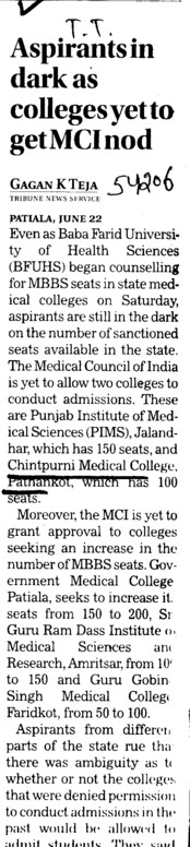 Aspirants in dark as colleges yet to get MCI nod (Chintpurni Medical College and Hospital)