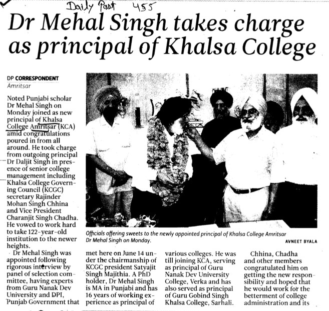 Dr Mehal Singh takes charge as Principal of Khalsa College (Khalsa College)