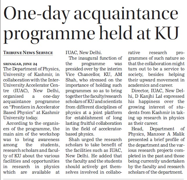 Acquaintance Program held (Kashmir University)