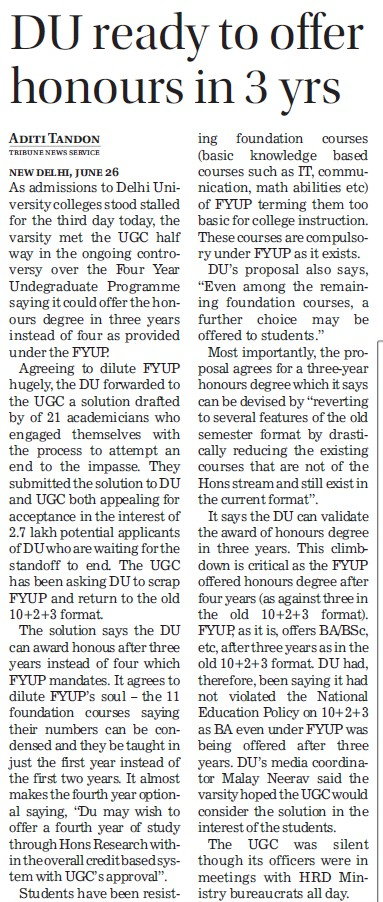 DU ready to offer honours in 3 years (Delhi University)