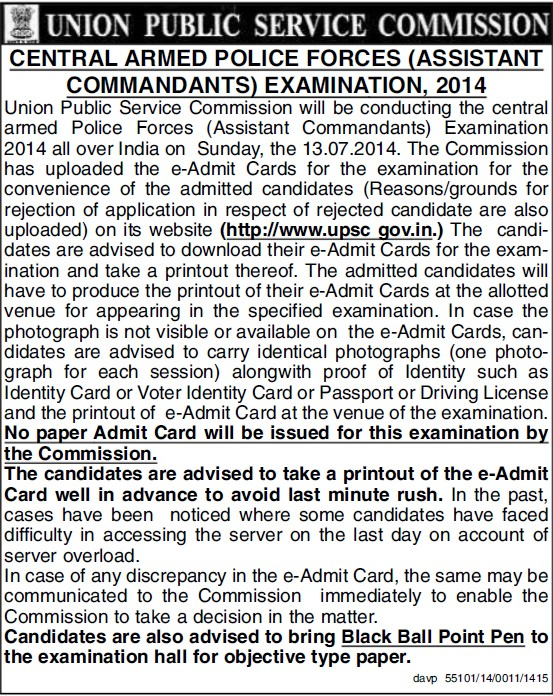Central Armed Police Forces Examination 2014 (Union Public Service Commission (UPSC))