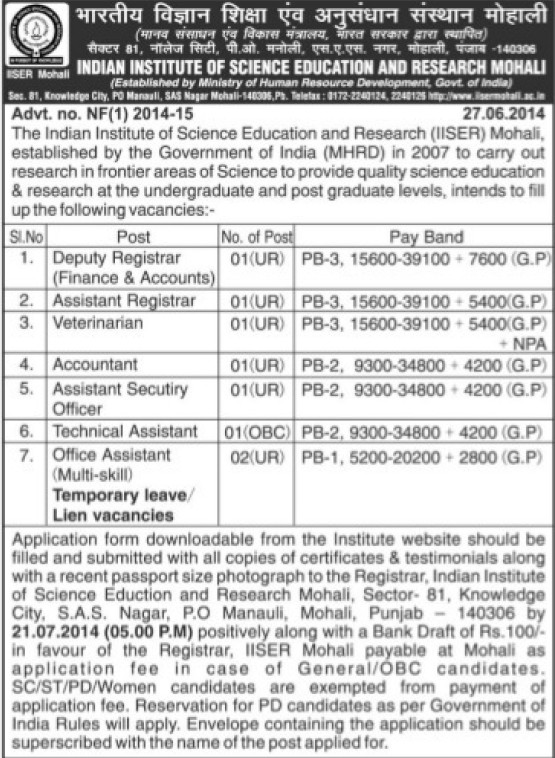 Deputy registrar and Accountant (Indian Institute of Science Education and Research (IISER))