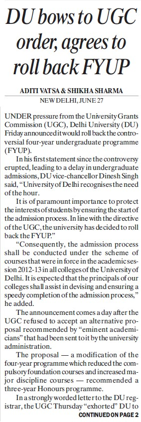 DU bows to UGC order, agrees to roll back FYUP (Delhi University)