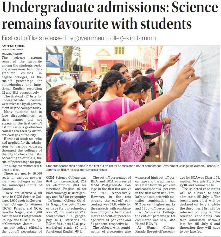 UG admissions, Science remains favourite with students (GGM Science College Canal Road)