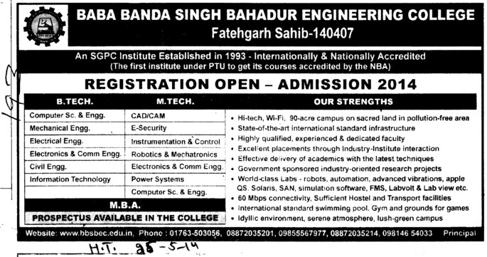 B Tech and M Tech in ME and ECE (Baba Banda Singh Bahadur Engineering College (BBSBEC))