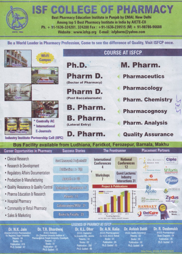 B Pharm and PhD (ISF College of Pharmacy)