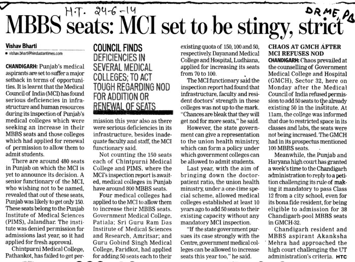 MBBS seats, MCI set to be stingy, strict (Director Research and Medical Education DRME Punjab)