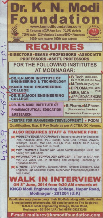 B Tech, MBA and MCA Programme (KNGD Modinagar Engieering College)