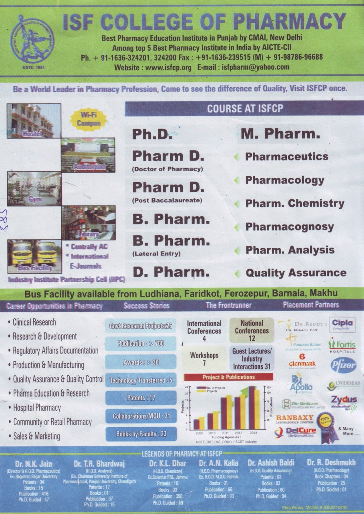 B Pharm, D Pharm and PhD Programme (ISF College of Pharmacy)