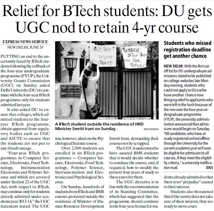 DU gets UGC nod to retain 4 yr course (Delhi University)
