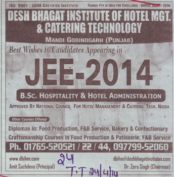JEE 2014 (Desh Bhagat Institute of Hotel Management and Catering Technology)
