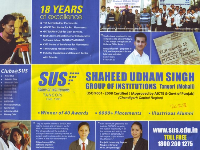 Best in Placements and Winner of 40 awards (SUS Group of Institutions)