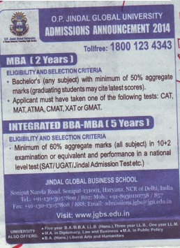 BBA and MBA programe (OP Jindal Global University)