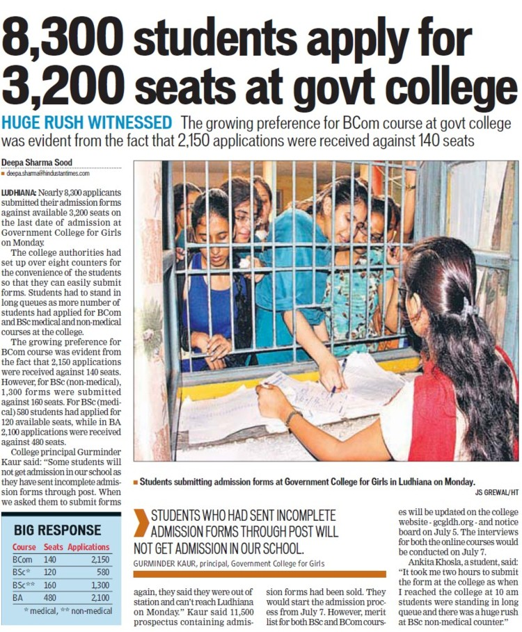 8300 students apply for 3200 seats at Govt College (Government College for Women)
