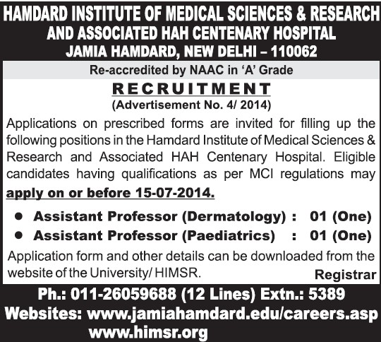 Asstt Professor for Dermatology (Hamdard Institute of Medical Sciences and Research)