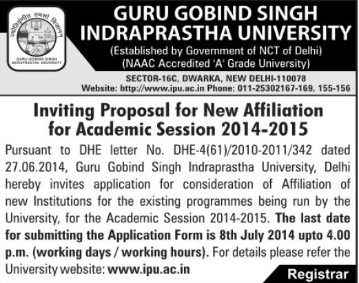 Affiliation of new institutions (Guru Gobind Singh Indraprastha University GGSIP)