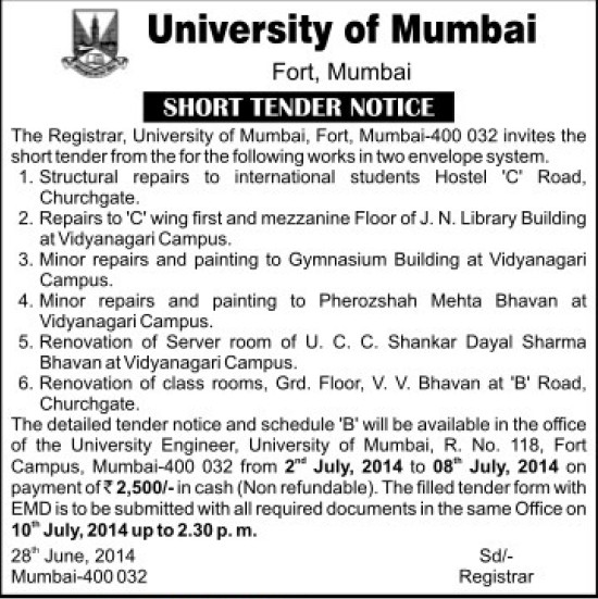 Minor repairs and painting to Pherozshah (University of Mumbai (UoM))