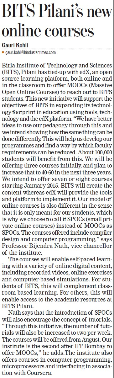 BITS Pilani's new online courses (Birla Institute of Technology and Science (BITS))