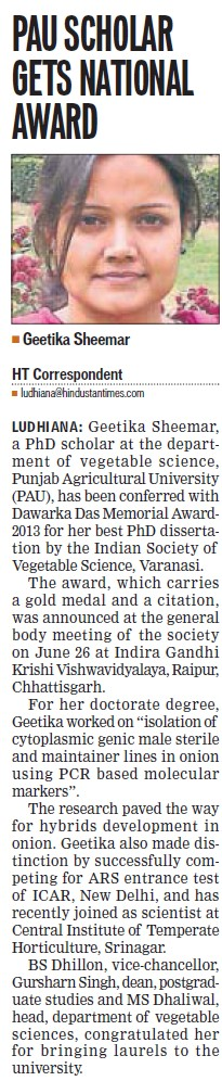 PAU Scholar gets National Award (Punjab Agricultural University PAU)