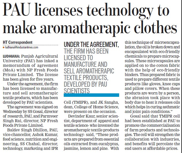 PAU license technology to make aromatherapic clothes (Punjab Agricultural University PAU)