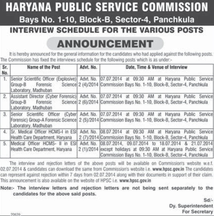 Senior Scientific Officer (Haryana Public Service Commission (HPSC))