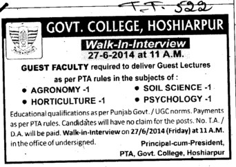 Lecturers for Agronomy and Soil Science (Government College)