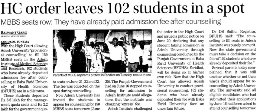 HC order leaves 102 students in spot (Adesh Institute of Medical Sciences and Research)