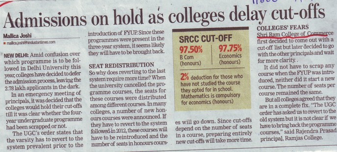 Admissions on hold as colleges delay cut offs (Shri Ram College of Commerce)