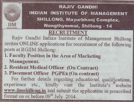 Placement Officer (Rajiv Gandhi Indian Institute of Management (RGIIM))
