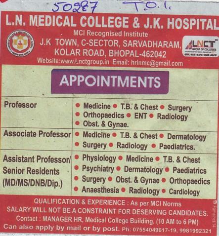 Senior Residents in Medicine and Psychiatry (LN Medical College and JK Hospital)