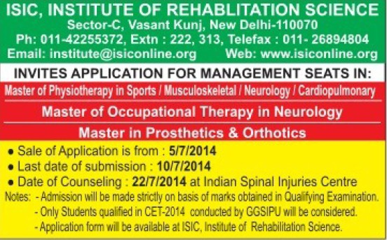 Master of Occupational Therapy in Neurology (ISIC Institute of Rehabilitation Sciences)