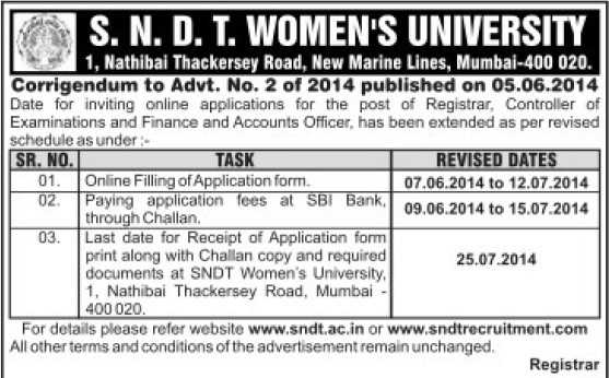 Finance and Accounts Officer (SNDT Women University)