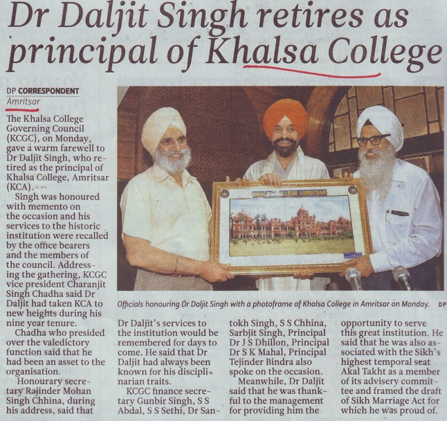Dr Daljit Singh retires as Principal of Khalsa College (Khalsa College)