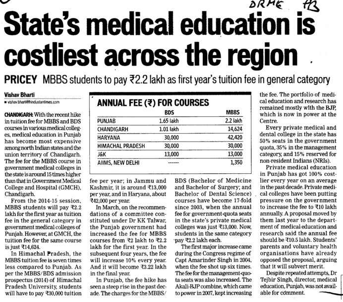 States Medical education is costliest across the region (Director Research and Medical Education DRME Punjab)