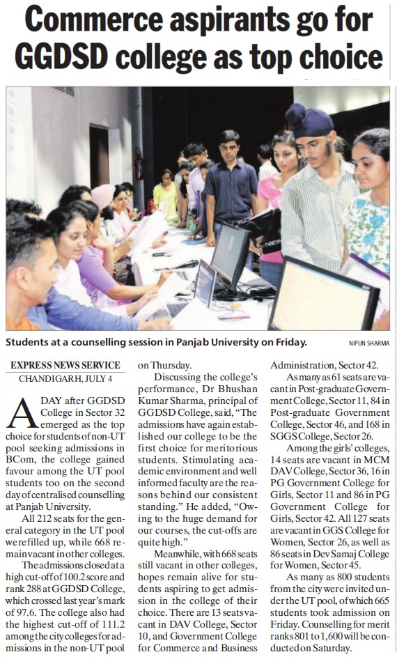 Commerce aspirants go for GGDSD College as top choice (GGDSD College)