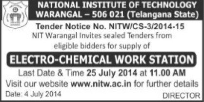Supply of Electro Chemical work station (National Institute of Technology NIT)