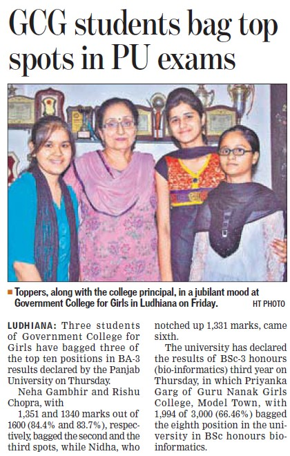 GCG students bag top spots in PU exams (Government College for Women)