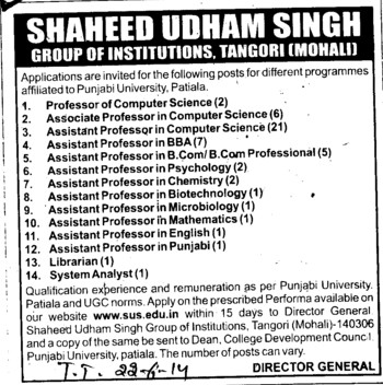 System Analyst and Lubrarian (SUS Group of Institutions)