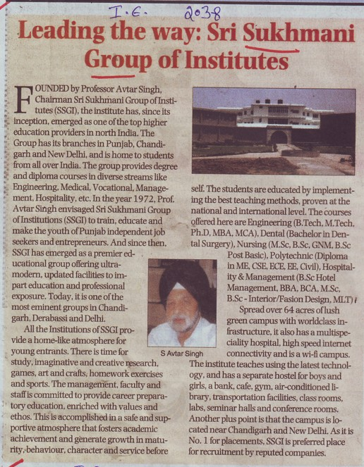 Message of S Avtar Singhy\ (Sri Sukhmani Group of Institutes)