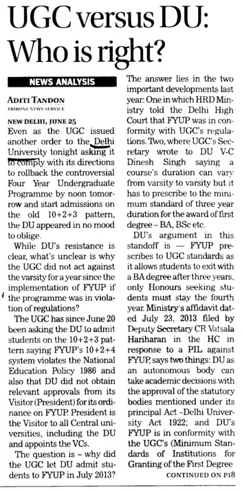 UGC versus DU, who is right (Delhi University)