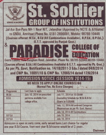 BEd and MEd course (Paradise College of Education)